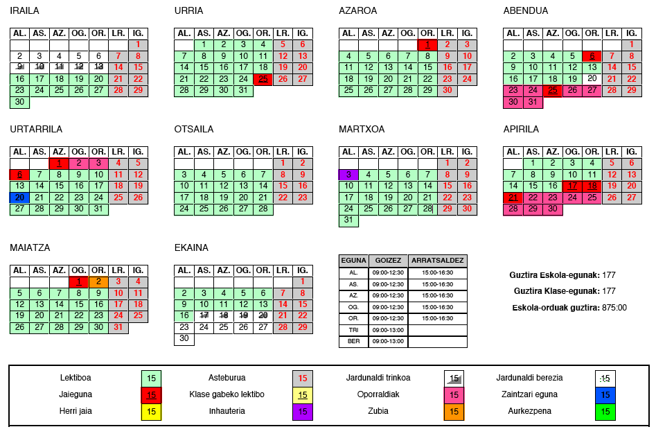 calendario escolar 2013-2014 aiete ikastetxea